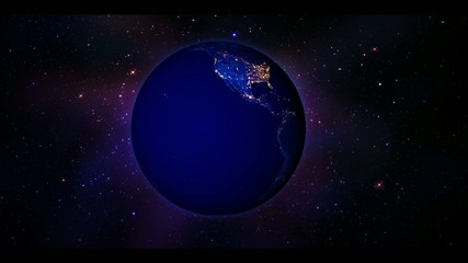 Planet Earth at Night with Stars