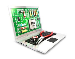 3d circuit board on laptop