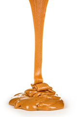 liquid caramel, isolated on white background