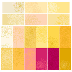 Collection of floral backgrounds with roses