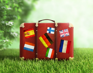 Old suitcase on grass, concept of travelling.