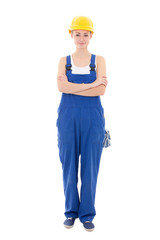woman builder in blue coveralls isolated on white