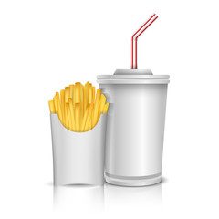 Cola and french fries on white background