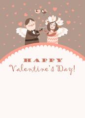 Cute angels celebrating Valentine's Day