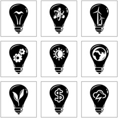 Set of energy concepts with light bulb