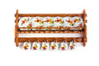 Leinwanddruck Bild - Wooden shelves with dishes