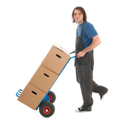 Man with hand truck