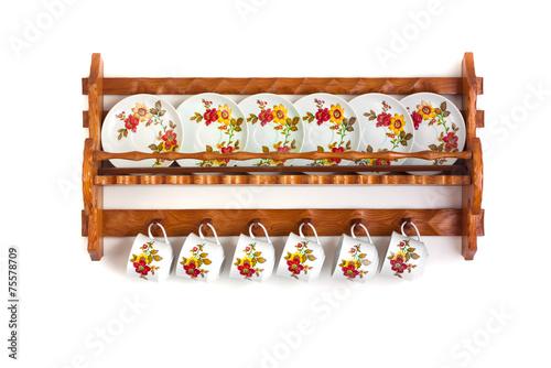 Leinwanddruck Bild Wooden shelves with dishes