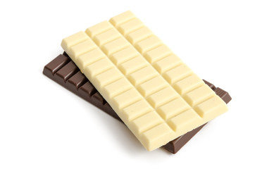 Weiße und braune Schokolade