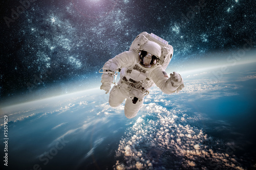 Spoed canvasdoek 2cm dik Luchtfoto Astronaut outer spac Elements of this image furnished by NASA.