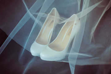 Luxury wedding shoes and veil