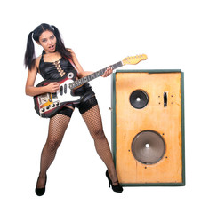 rock musician with a large speaker