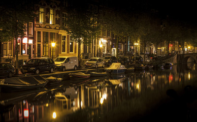 Amsterdam night: canal in Red District