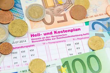 Geld mit Heil-und Kostenplan