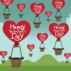 Happy Valentines Day With heart Air Balloon