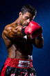 Strong muscular boxer in red boxing gloves. A man in a boxer's s