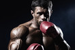 Strong muscular boxer in red boxing gloves. A man in a boxing st - 75580354