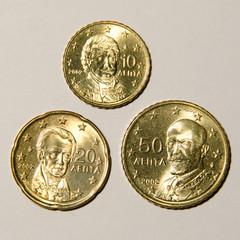 Zehn bis fünfzig Cent Griechenland