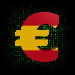 Euro symbol with Spanish flag on hex code illustration