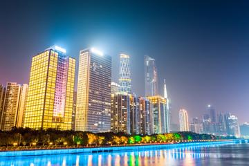 modern buildings at night in guangzhou