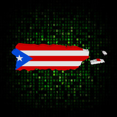 Puerto Rico map flag on hex code illustration