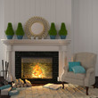 Vintage beige armchair near the fireplace with Christmas decor