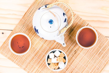 chinese set tea on wooden table