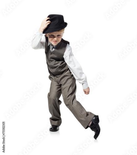 Naklejka Dancing boy isolated on white