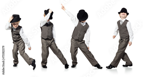 Fotobehang Dans Dancing boy isolated on white