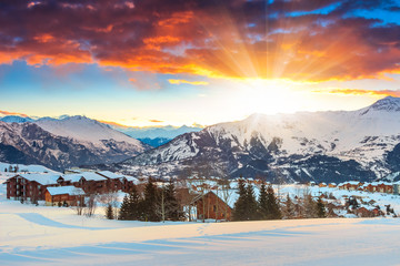 Amazing sunrise and winter landscape,Les Sybelles,France,Europe