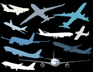 eleven airplanes collection isolated on black