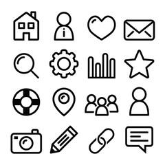 Website menu navigation line icons - home, email, gallery