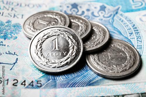 Polish zloty coins, close up - 75582712