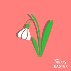 Easter card with snowdrop