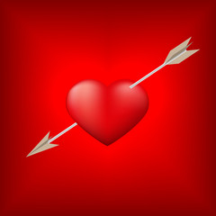Red heart pierced by arrow