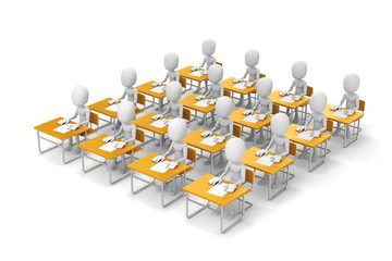 3d man student in classroom, on white background
