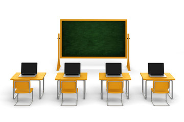 3d classroom with desks and laptops, on white background
