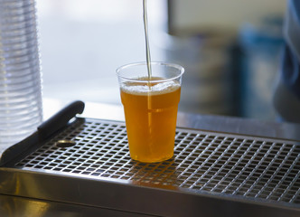 Drawing beer in a plastic cup