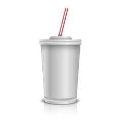 Disposable Paper Cup With Lid And Straw.