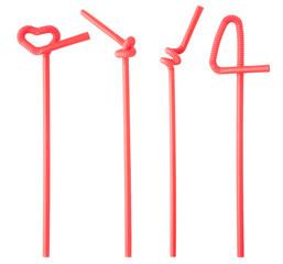 plastic straws isolated on white background