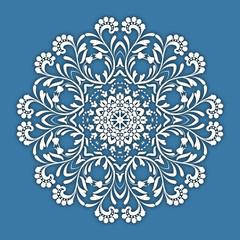 Abstract vector circle floral ornamental border. Lace pattern