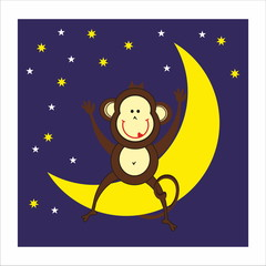 monkey, moon and night