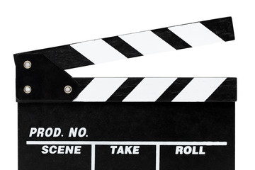 Close-up of Film Clapboard. Isolated on white.