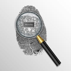 Identification concept. Magnifying glass over finger