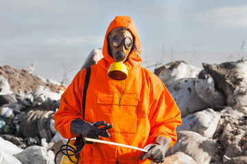 Portrait of recycling worker on the landfill