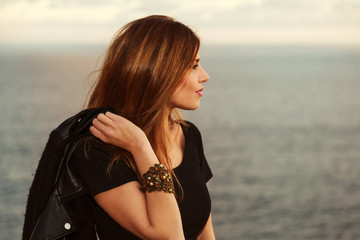 Young model looking at the horizon