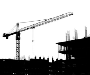 Silhouettes of a construction crane and building on a white back
