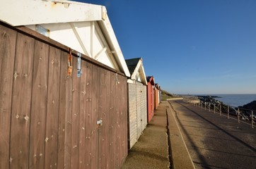 Wide angle view of beach huts