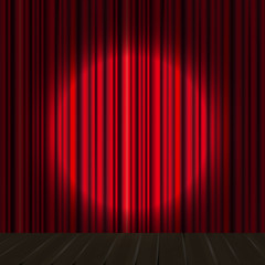 Background with red curtain and light. Eps 10