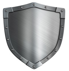 Simple coat of arms metal shield isolated